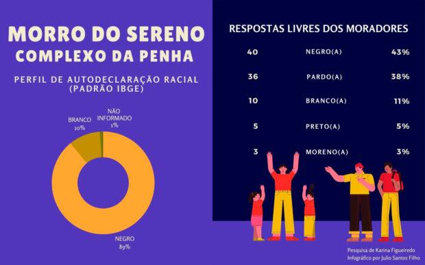 Infográfico 'Perfil Racial do Morro do Sereno', de Julio Santos Filho baseado nos dados da pesquisa de Karina Figueiredo.