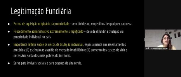 Tarcyla Fidalgo fala de Legimitação Fundiária no Seminário Nacional do Termo Territorial Coletivo. Print do Zoom por Eduardo Antunez Rolle