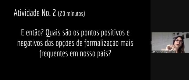 Tarcyla Fidalgo propõe um reflexão sobre os pontos positivos e negativos das opções de formalização de terras no Brasil. Print do Zoom por Eduardo Antunez Rolle