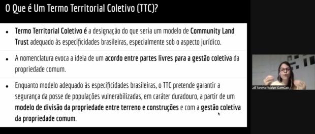 Tarcyla apresenta o que é o Termo Territorial Coletivo. Print do Zoom por Eduardo Antunez Rolle
