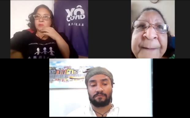 Anna Paula Salles, Marcia Helena e Douglas Heliodoro durante a live