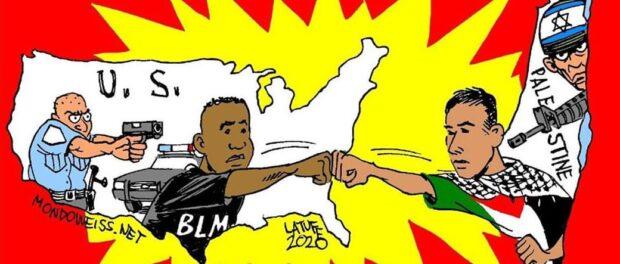 Charge Palestinos e negros oprimidos pelas políciais e solidários. Charge por Latuff, 2020.