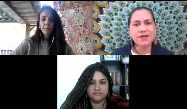 Elisa Maria Campos, Valdirene Militão e Tatiana Lima durante a live