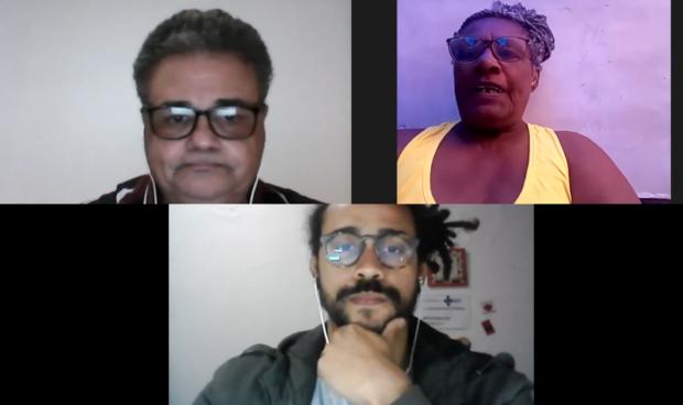 Jacob Portela, Ana Leila e Hugo Oliveira durante a live