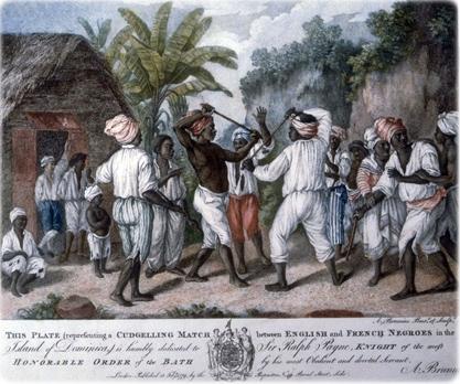 Luta com bastões na Dominica, Antilhas, em ilustração do artista italiano Agostino Brunias publicada em Londres, em 1779 (original na John Carter Brown Library, EUA).