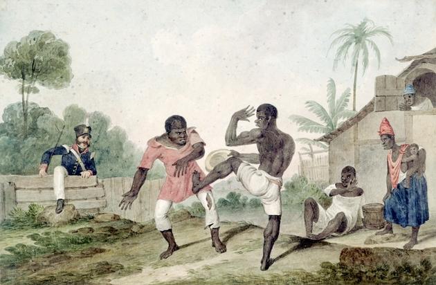 Negros lutando (1824), de Augustus Earle. Aquarela