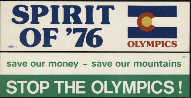 Adesivos apoiando e se opondo à candidatura de Denver como sede da Olimpíada de Inverno 1976. Fonte HistoryColorado.org