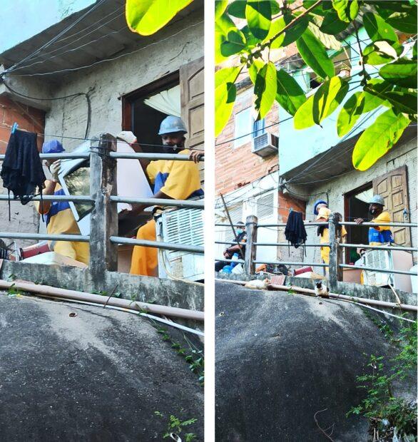 Funcionários da Prefeitura retiram móveis de casa demolida na Comunidade Coroa, no Tabajaras