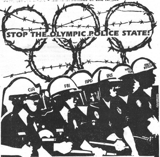 'Parem o Estado Policial Olímpico!' arte de protesto contra as Olimpíadas de Verão Los Angeles 1984.