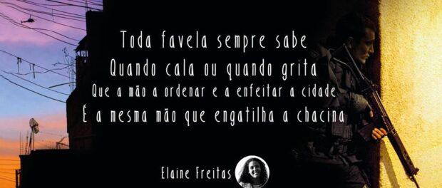 Poesia de Elaine Freitas, referência de luta e afeto. O poema urge pela coletividade no movimento.Foto de página do Facebook Poetisa Elaine Freitas