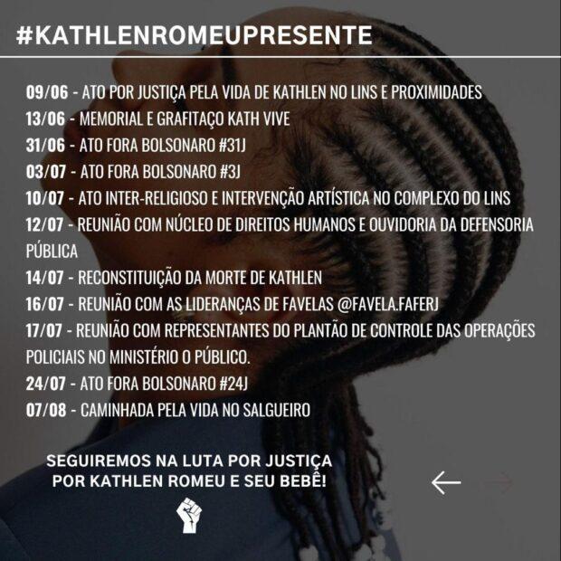 Atos 'Kathlen Presente' que aconteceram desde sua morte há mais de 100 dias. Arte de Comunidade Black.